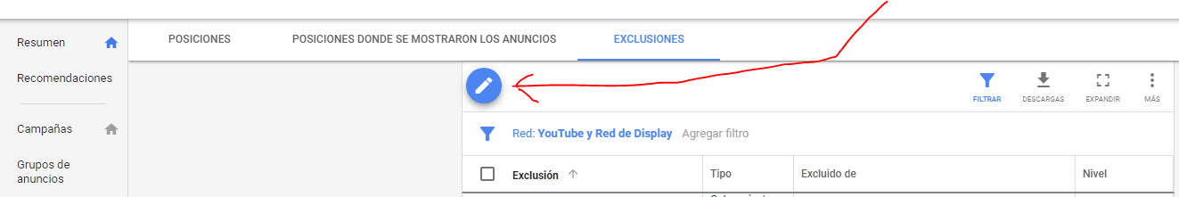 excpluciones red display