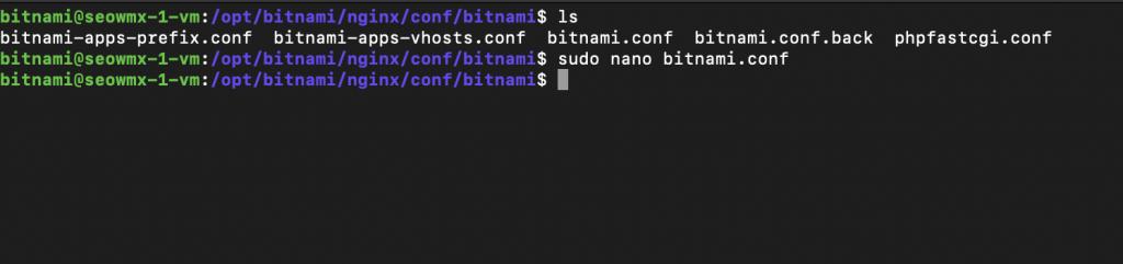 ruta configuración nginx bitnami